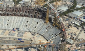 Construction work on the Khalifa international stadium in Doha.