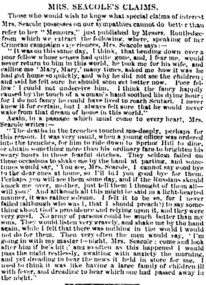 Observer 27 July 1857 Extract from Mary Seacole's memoirs