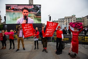 The protest was put on 'to highlighted the contradiction between the Government and Greater London Authority having declared a climate emergency and BP being given a platform to sponsor the Royal Opera House event in the heart of London', Extinction Rebellion said in a statement.