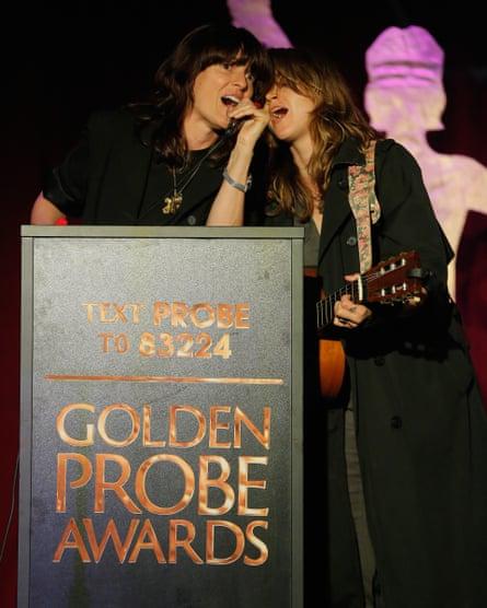 Ambrosia Parsley and Holly Miranda perform at the Golden Probe awards.