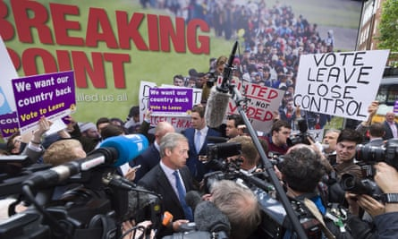 Ukip leader Nigel Farage launches the party's now infamous anti-immigration poster on 16 Jun 2016.