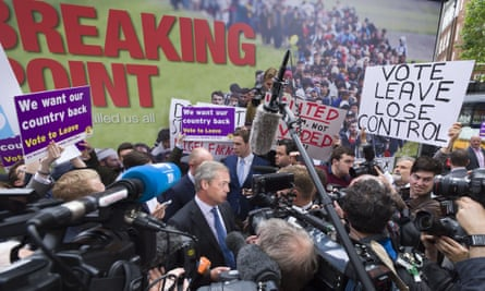Nigel Farage launches Ukip's new EU referendum poster campaign calling for voters to opt 'leave'.