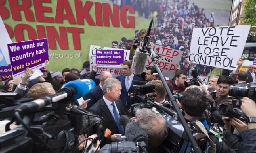 Nigel Farage launches Ukip's EU referendum poster campaign.