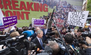 Nigel Farage launches Ukip's EU referendum poster campaign in London, 16 June.
