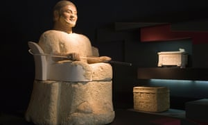 A stone sculpture exhibit at the Etruscan museum, Chiusi, Italy