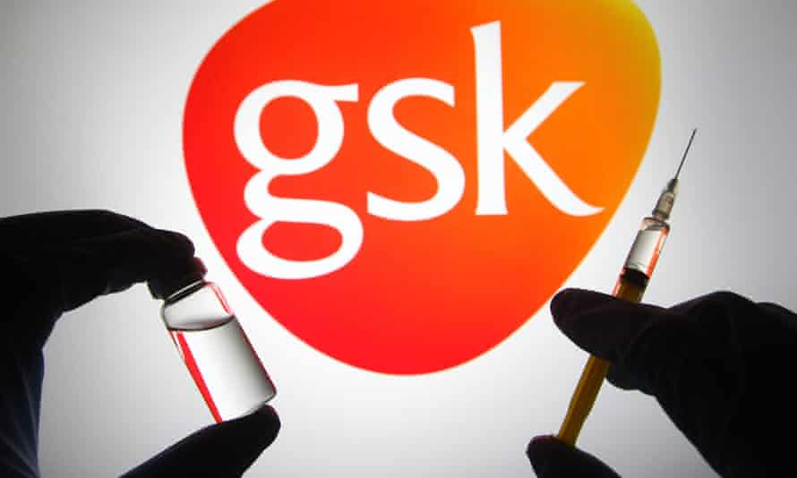 A GSK logo with the silhouette of a vaccine