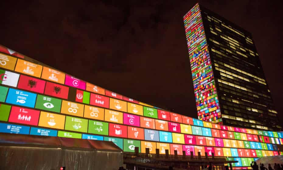 The illuminated UN building in New York is decked out to celebrate the sustainable development goals.
