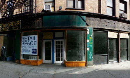 Vacant retail space in the New York neighborhood of Chelsea. Thousands of small retailers have been replaced by national chains.