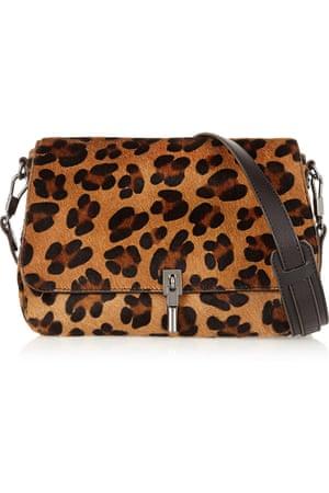 Mini leopard-print calf hair bag
