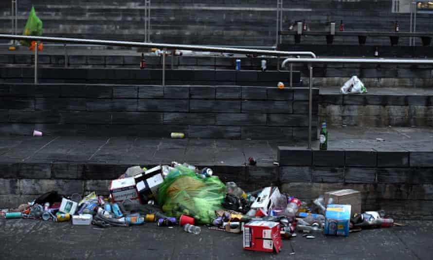 Litter left by revellers outside the Senedd.