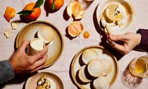 Thomasina Miers' orange and sauternes custard tarts with boozy raisins