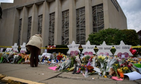 A memorial outside the Tree of Life synagogue to the 11 people killed.