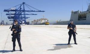 Algeciras border police guard the Neameh.
