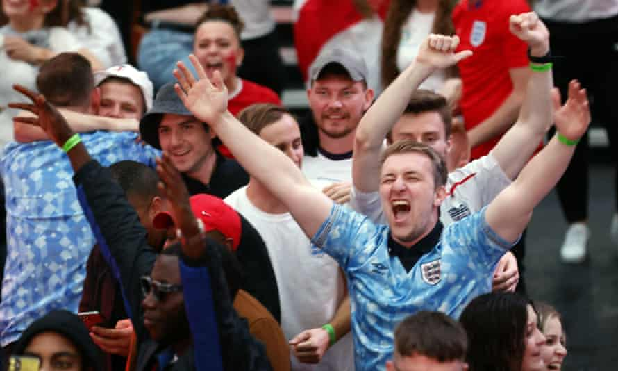 Fans watching England v Ukraine in Croydon, where Atomic Kitten performed their ode to Gareth Southgate.