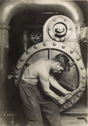 Powerhouse mechanic, circa 1921In one of Hine's most famous images, he emphasizes machinery and musculature. 'The visual appeal of the photo is rather direct and stunning,' Daile Kaplan, vice-president of photographs at Swann galleries, told The Hot Bid. 'It has harmony, it has visual balance, and at the same time, he positions the worker in a way that he's controlling the machine. It reflects a new visual vocabulary that addresses the machine age, but it privileges the person with the machine'