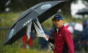 Nice weather for it: Jordan Spieth conquered the conditions at Royal Birkdale to lead by two shots.