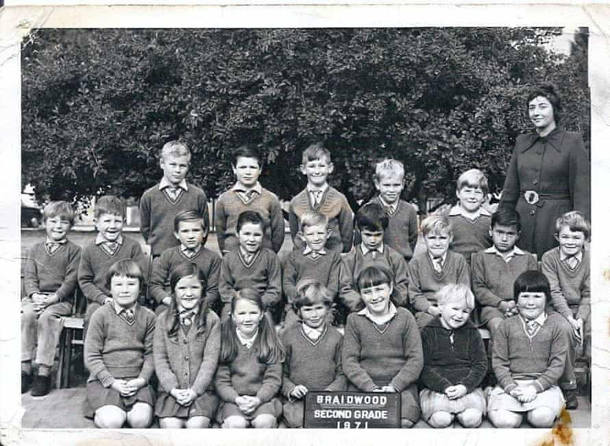 Stan Grant with his class at school.