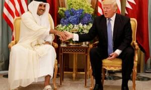 Donald Trump, right, meets Qatar's emir Sheikh Tamim bin Hamad Al Thani in Riyadh, Saudi Arabia, on 21 May.