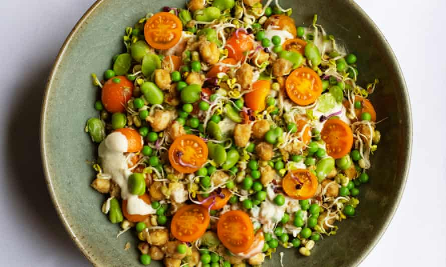 Veggie heaven: sprouted seeds, chickpeas and beans.