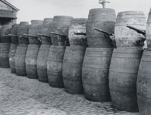 Barricade made from barrels in Dublin in 1916.