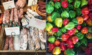 Charcuterie and chillies from Cannon and Cannon's shop in Borough Market, London.