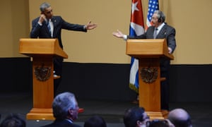 Barack Obama and Raúl Castro take questions from journalists at press conference on Monday.