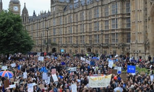 Protestors Attend Anti-Brexit rally on College Green in front of the Houses of Parliament on June 28, 2016