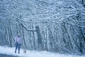 A woman walks a dog through a heavy snow shower in Harthill, Scotland