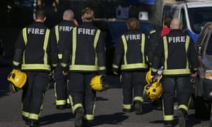Firefighters at Grenfell Tower.