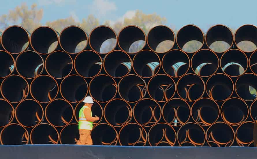 Pipes for the proposed Dakota Access oil pipeline, that would stretch from the Bakken oil fields in North Dakota to Patoka, Illinois.