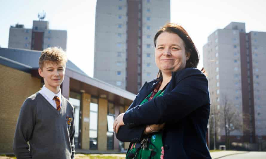 Collette Hunnisett, head of Olive AP academy, in Thurrock, Essex, with a pupil