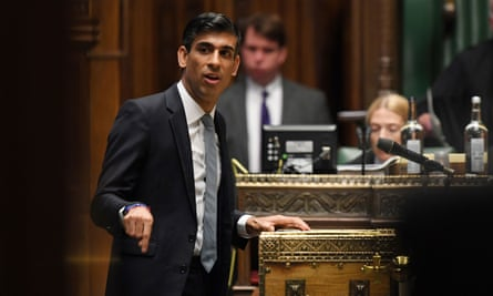 The chancellor of the exchequer, Rishi Sunak, delivers his ministerial statement in the House of Commons.