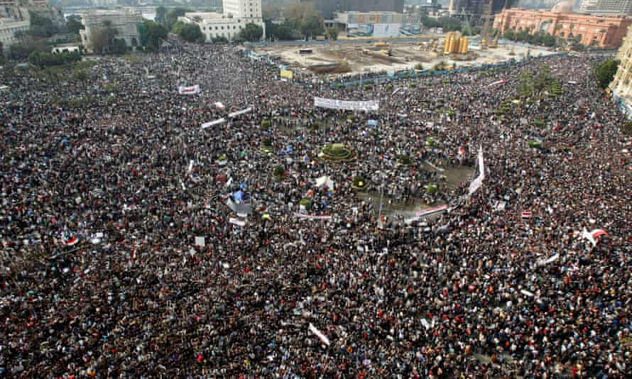 Tahrir Square on 1 February 2011, when hundreds of thousands of Egyptians swamped Cairo to protest against the rule of Hosni Mubarak.