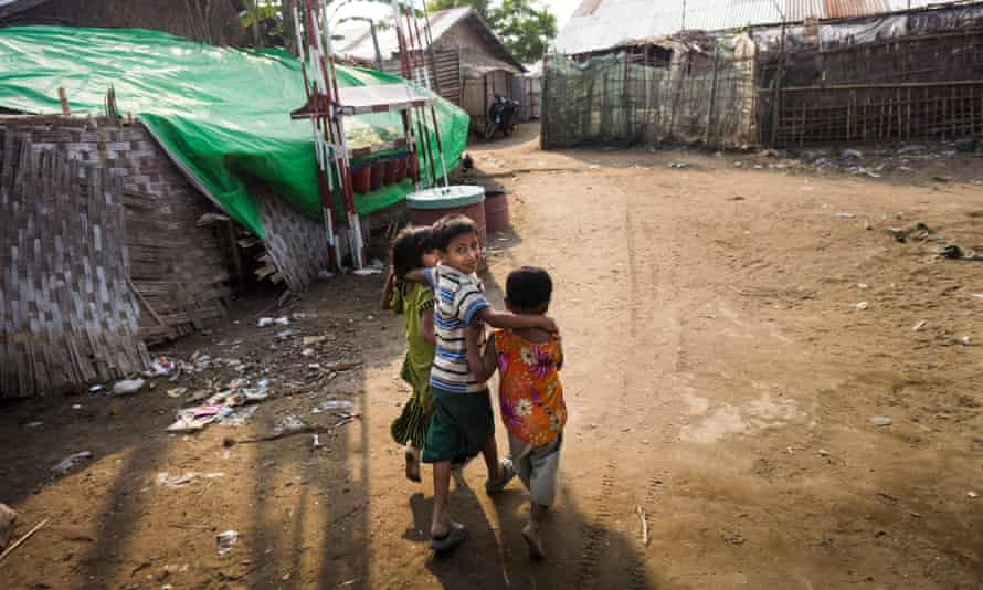 Children at the Baudupha camp for displaced people in Rakhine state