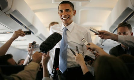 Presidential candidate Barack Obama talking to the media in June 2008, en route to Dulles airport, on the campaign trail in Virginia