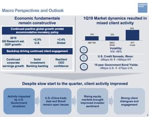 Goldman Sachs financial results, Q1 2019