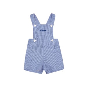 Blue fine ginfham short dungarees by Thomas Brown