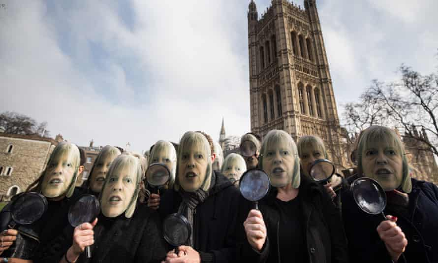 Campaigners outside parliament on Sunday calling on home secretary Theresa May to think twice about the investigatory powers bill
