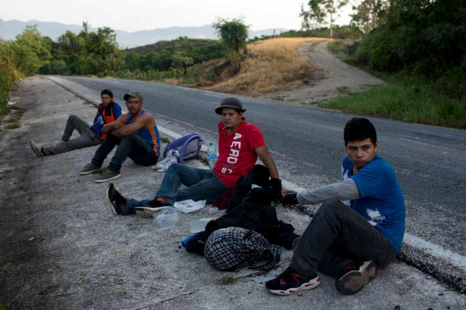 Central American migrants walk from Corozal's border in the south of Chiapas to Palenque.