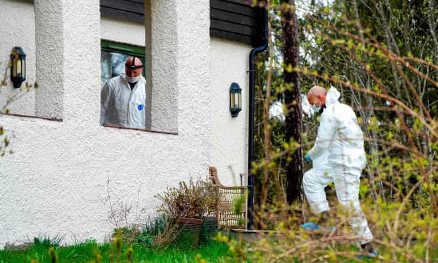 Police officers search Tom Hagen's residence near Oslo after the businessman's arrest.
