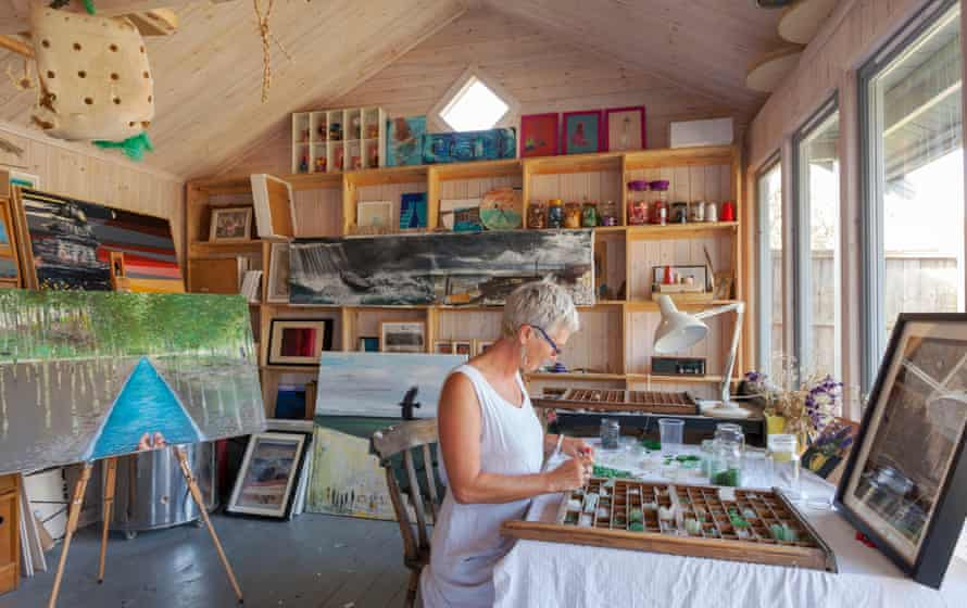 'I find scraps of cloth on the beach and wonder how far they have travelled': Rachael Dickens in her studio.