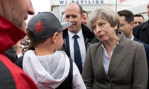 Theresa May on the campaign trail.