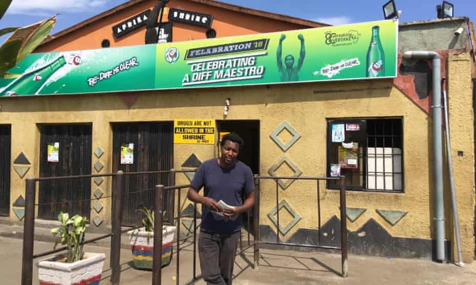 Mukoma Wa Ngugi outside Fela Kuti's The Shring, Lagos, Nigeria.