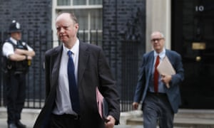 Prof Chris Whitty, the government's chief medical adviser (left), and Sir Patrick Vallance, its chief scientific adviser, leaving No 10 and heading to the Foreign Office for today's cabinet meeting.