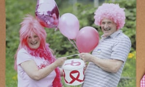 Wendy Arundale and her husband John, raising funds for Asda's breast cancer event