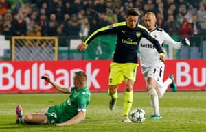 Ozil then puts two Ludogorets' defenders on the floor.