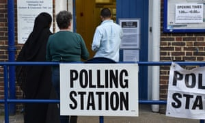 Voters at a polling station for the European elections in May.