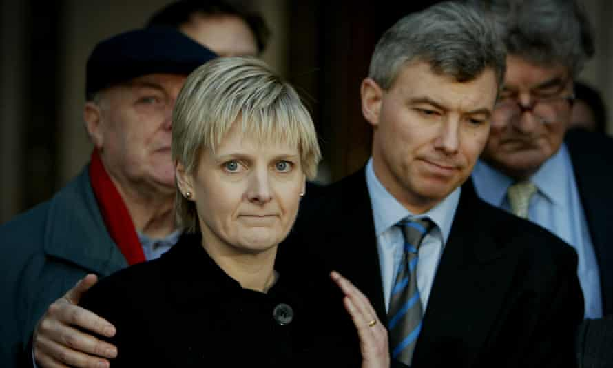 Solicitor Sally Clark outside the high court with her husband Stephen.
