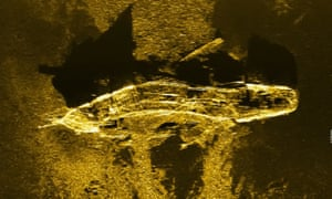 A sonar image released by the agency coordinating the search for MH370 shows an iron or steel-hulled shipwreck some 3,700 metres below the surface and believed to have gone down at the turn of the 19th century.