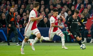 Frank Lampard (left) looks on as Mason Mount takes the fight to Ajax in the Champions League last week.
